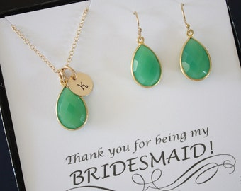5 Personalized Bridesmaid Necklace and Earring set Emerald, Bridesmaid Gift, Green Gemstone, Gold, Initial Jewelry, Monogram, Teardrop Set
