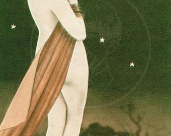 Pin Up (Moon) - 10x16 Giclée Canvas Print of Vintage Pinup Postcard