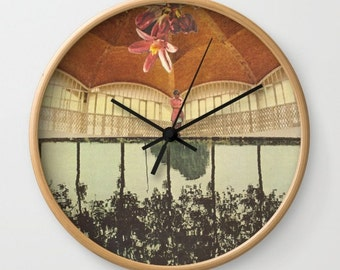 Wall clock - there was treasure to be found - collage art - surreal home decor for the dreamer