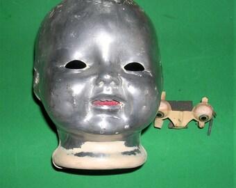 Les yeux en métal tête de poupée ancienne de métal Vintage avec dents en métal