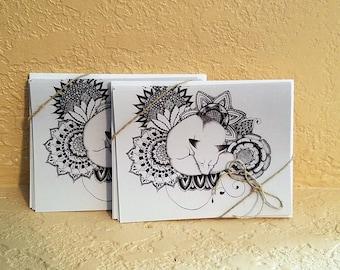 Zentangle Fox Cards