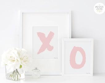 Pink XO Art Print Wall Art, Typography Wall Art, Printable Art, Pink Nursery Decor, Home Decor Wall Art, XOXO Digital Design