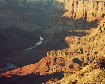 Landscape photograph, Southwestern decor, Grand Canyon, Arizona, nature photography - Golden Grand
