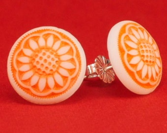 Vintage 1940's Orange Flower Glass Button Post Earrings