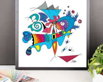 Framed poster,abstract, artwork, abstract art, colorful, modern art,
