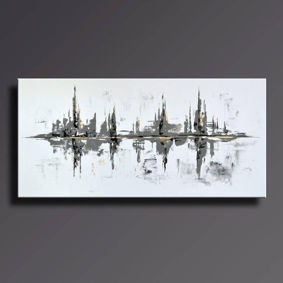 75 grand noir blanc gris or peinture abstraite sur toile. Black Bedroom Furniture Sets. Home Design Ideas