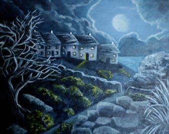 "Moonlight. Original Painting, Acrylic on Canvas Board, 14"" x 12"" Framed"