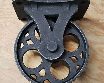 ON SALE   Set Of 4   Solid Iron Rustic Black Vintage Style Industrial  Furniture Caster