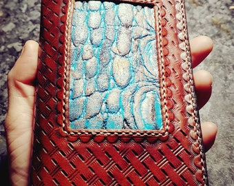Tooled leather long wallet/clutch/purse in Tan and Turquoise.