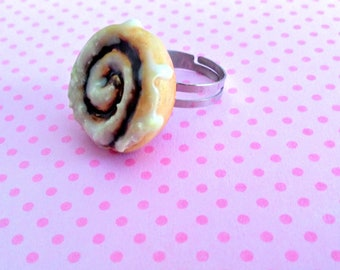 Cinnamon Bun Ring, Miniature Food Jewelry, Breakfast Jewelry, Inedible Jewelry, Cinnamon Roll Ring, Junk Food Jewelry, Food Ring, Kid's Ring