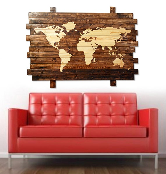 Extra large rustic stained wood world map wall art 50 like this item gumiabroncs Images