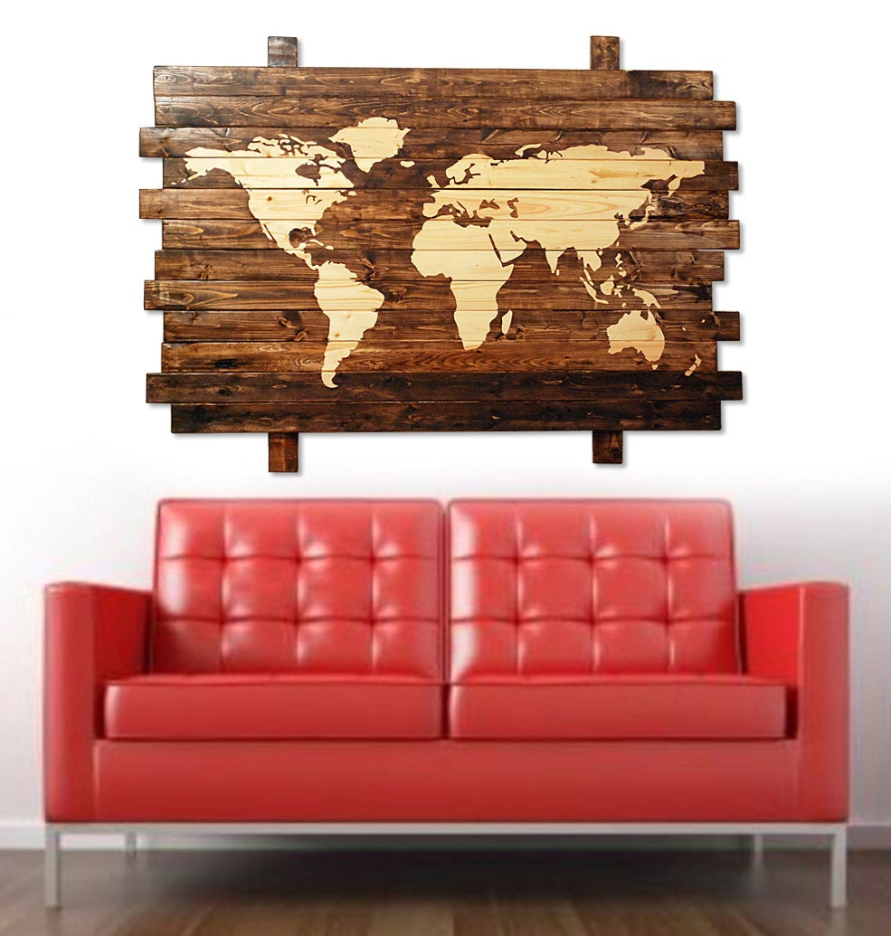 Extra large rustic stained wood world map wall art 50 zoom gumiabroncs Images