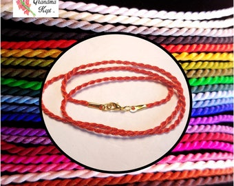 Silk Cord Necklace With Yellow Gold Tone Clasp – 21 Colors!