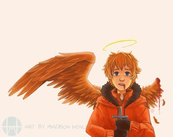 One-Winged Kenny South Park Illustration Print