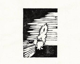 "Original Woodcut Cat Art Handmade Limited Edition Print ""01.18-Surprise"""