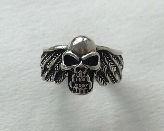 Vintage Winged Skull Ring Sterling Silver