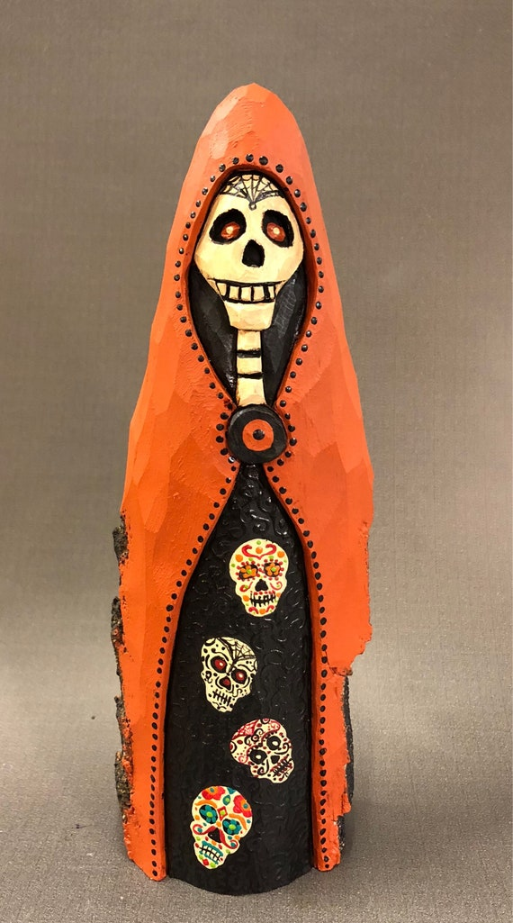 HAND CARVED original tall Halloween Skelly from 100 year old Cottonwood Bark