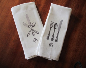 Set of 4 Vintage Chic French Typography Silverware Napkins, Unique, One of a Kind Gift, Can be Personalized or Monogrammed, Fork Knife Spoon