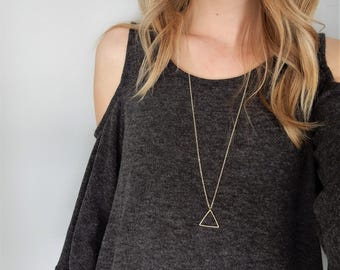 Gold Triangle Necklace | Geometric Necklace | Pendant Necklace | Triangle Shape | Minimal Necklace | Simple Necklace | Gold Triangle