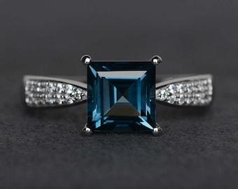 square cut London blue topaz ring blue gemstone ring sterling silver ring November birthstone ring