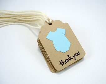 Baby boy shower tags, tiny shower favor tags, blue gender reveal, small thank you tags, bodysuit tags, mini tags with strings, set of 10