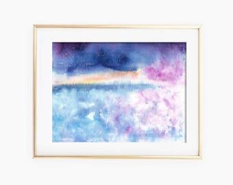 Blue Sky Art, Abstract Art, Blue Sky Watercolor, Blue Sky Painting, Sky Watercolor, Sky Painting, Watercolor Painting, Blue Sky Wall Art