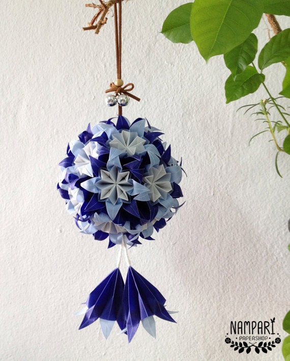 Blue origami flower ball translucent origami flower origami mightylinksfo