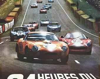 Vintage 1966 Le Mans 24 Hour Race Motor Racing Poster A3 Print