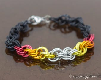 Flames Double Spiral Chainmaille Bracelet