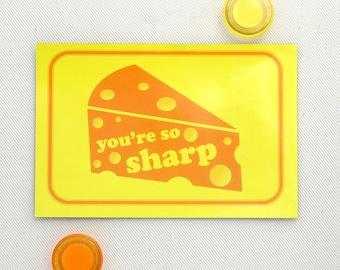 Magnet Postcard Cheese Valentine - Fridge Magnet -  You're So Sharp
