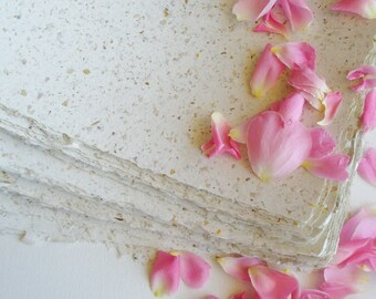 50 Sheets Rose Petals Paper, Hand Made Recycled Paper,  Handmade with Deckle Edges, A5 Floral Paper, Romantic Paper, Paper with Roses, Love