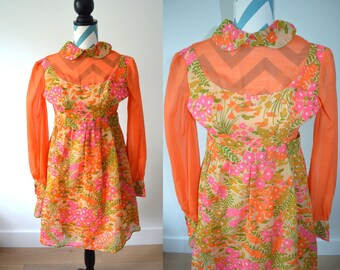 Vintage 1960s Floral Print Baby Doll Empire Waist Dress - Fall Floral print Orange Pink Green - Extra small XS