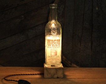 Handmade Recycled High West Campfire Bourbon Bottle Lamp, Reclaimed Wood Base, Edison Bulb, Twisted Cloth Wire, In line Switch, Plug