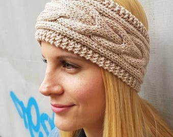 Crochet headband, snow cable knit winter headband, beige cable wool headband, cute wool knit thick ear warmer, warm cute knitted headband