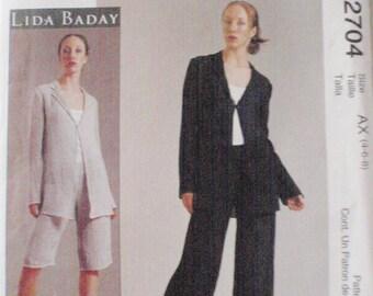 SALE - Designer Sewing Pattern - Misses/Misses Petite Jacket and Pants -  McCall's 2704 - Sizes 4-6-8, Bust 29 1/2 - 31 1/2, Uncut