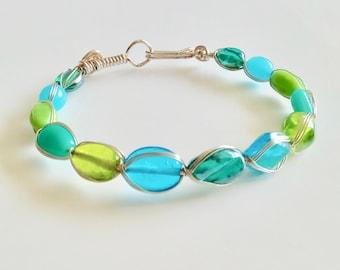 Tropical Sea glass bead bracelet