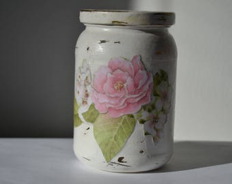 ROSE DECOUPAGED JAR with Lid Creamy White Lidded Storage Jar Pink Shabby Chic Jar Home Decor
