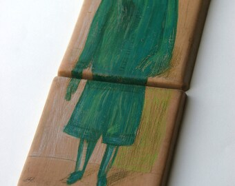 Painted tile-terracotta tiles to wall-original tiles-artistic tile-terracotta tiles painted figure