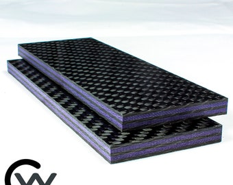 "1/4"" Purple Metallic Carbon Fiber Knife Scale Set of 2, Metallic Purple CarbonWaves"