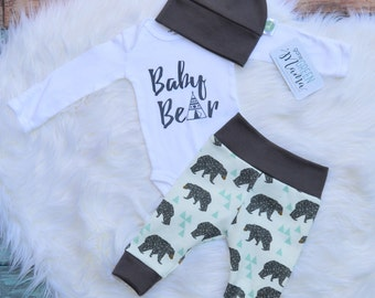 Baby Bear, coming home outfit boy, newborn outfit, boy coming home outfit, newborn boy coming home outfit, newborn boy photo outfit,