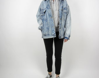 vintage 90s JORDACHE classic blue denim jacket Oversize Light blue wash