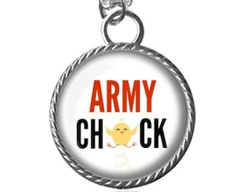 Army Chick Necklace, Army Image Pendant Key Chain Handmade