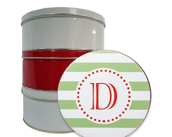 Personalized Tin Container - Monogram Cookie Tins - Custom Biscuit Containers-Modern Stripe
