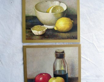 Set of Two, Henk Bos, Litho Print, Still Life Fruit, Henk Bos, Lemons, Tomatoes, Apple, Wall Hanging, by mailordervintage on etsy