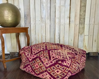 Z O H R A | Vintage Moroccan Pouf | Boujaad Floor Cushion | Bohemian Floor Pillow |Stunning Colours | Eclectic Furnishings | Unique