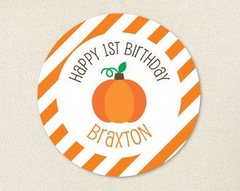 Pumpkin Birthday Party - Custom Pumpkin Stickers - Sheet of 12 or 24