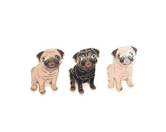 Seconds quality enamel pin, pugs, kisses, puppy, dog lover, fawn pug, black pug, badge, dog jewelry, lapel pin, seconds pin.