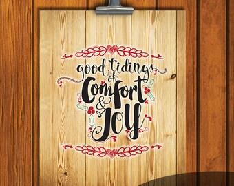Rustic Christmas Printable / Glad Tidings of Comfort and Joy / Instant Download / Christmas / Rustic / Holiday Art / 8x10 Christmas Art