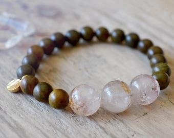 melody stone - sacred super seven bracelet /// fragrant sandalwood stretch bracelet /// gemstone boho stacking bracelet