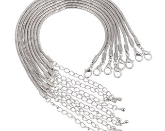 Silver Plated European Charm Bracelet Snake Chain Lobster Claw Clasp and Security Chain fit DIY Large Hole European Charm Beads #BRC-SNKCH11